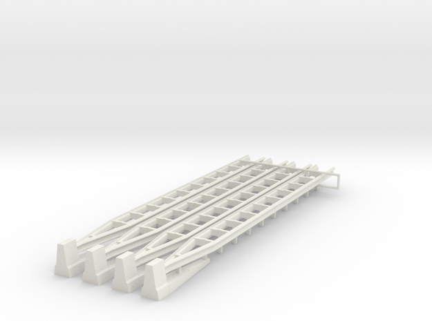 [4st] Overgang Barrier Naar Geleiderail 1:87 (H0) in White Natural Versatile Plastic