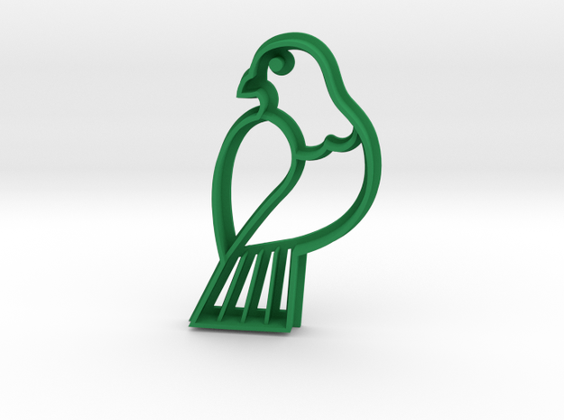 Wood pigeon Cookie Cutter in Green Strong & Flexible Polished