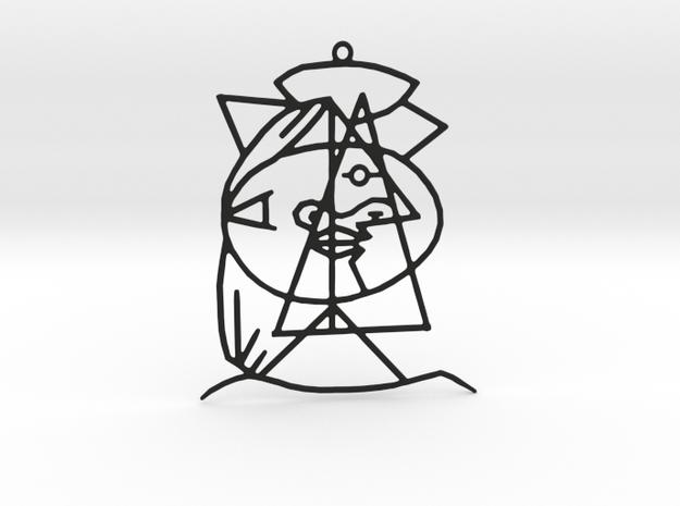 Picasso Pendant  in Black Natural Versatile Plastic