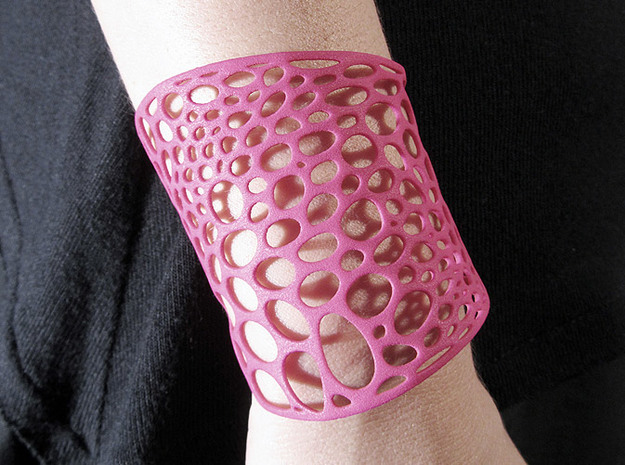 Voronoi bracelet #2 (MEDIUM) 3d printed Hot Pink Strong & Flexible Polished version