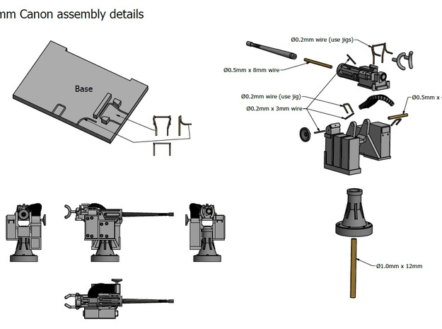 25mm Cannon kit x 1 - 1/96 3d printed Assembly details