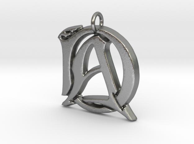 Monogram Initials AD.2 Pendant  in Raw Silver