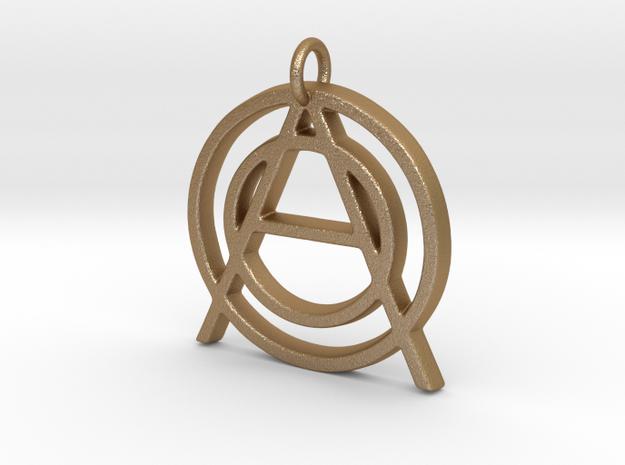 Monogram Initials OOA Pendant  in Matte Gold Steel