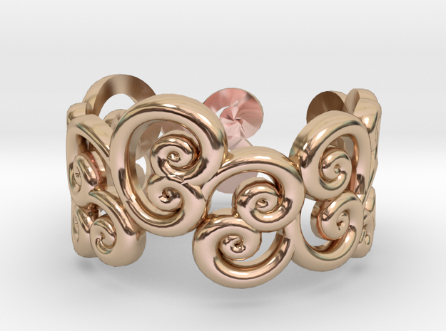 Ring Scroll in 14k Rose Gold Plated Brass