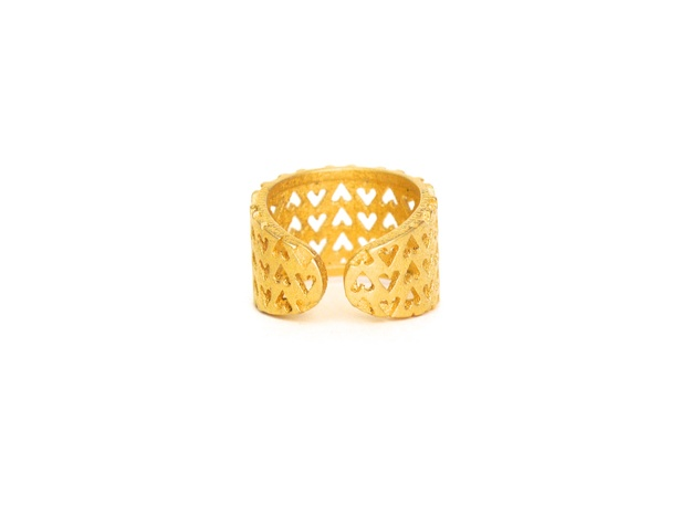 Inverted Hearts Ring 3d printed gold steel