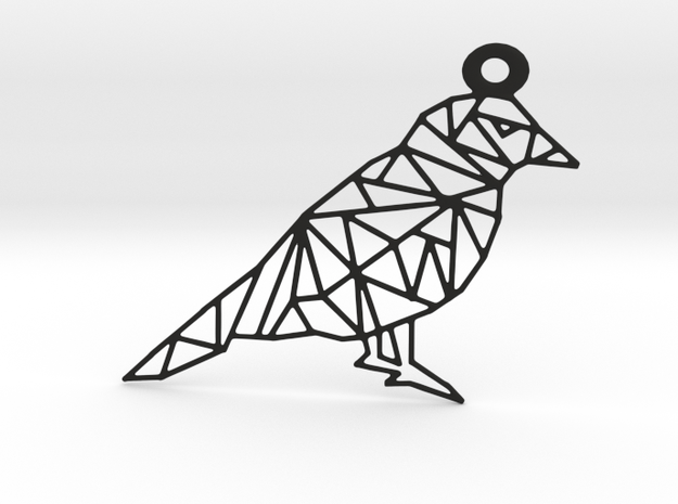 Bird Pendant in Black Natural Versatile Plastic