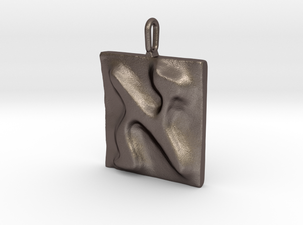 01 Alef Pendant in Polished Bronzed Silver Steel