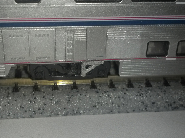 N Scale Superliner II Bolster Anchors 3d printed As installed on a Transition Sleeper kitbash