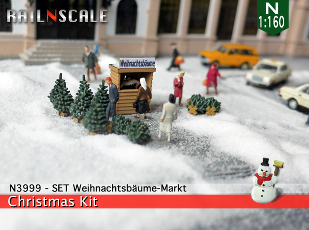 SET Weihnachtsbäume-Markt (N 1:160) in Smooth Fine Detail Plastic