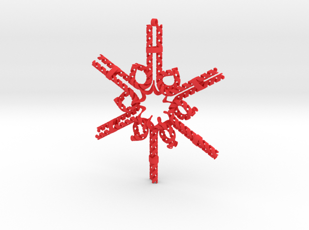 Candy Cane Snowflake in Red Processed Versatile Plastic