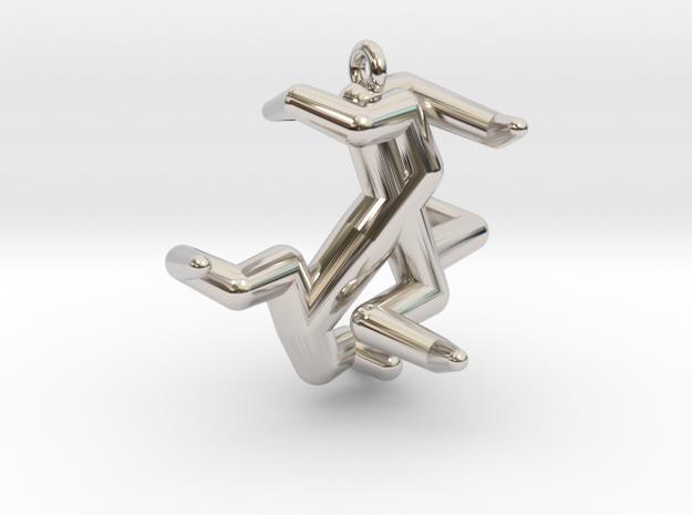 Y5 - Hexadenton in Rhodium Plated Brass