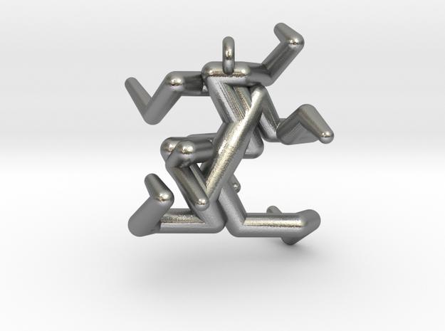 Heptadenton Pendant in Natural Silver