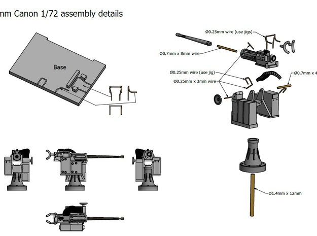 25mm Cannon kit x 1 - 1/72 3d printed