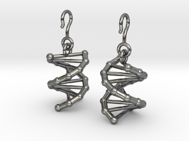 DNA Earrings in Polished Silver (Interlocking Parts)