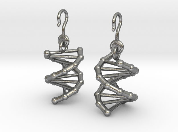 DNA Earrings (One Piece) in Natural Silver