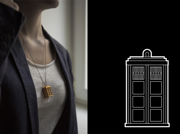 TARDIS Pendant in Polished Gold Steel