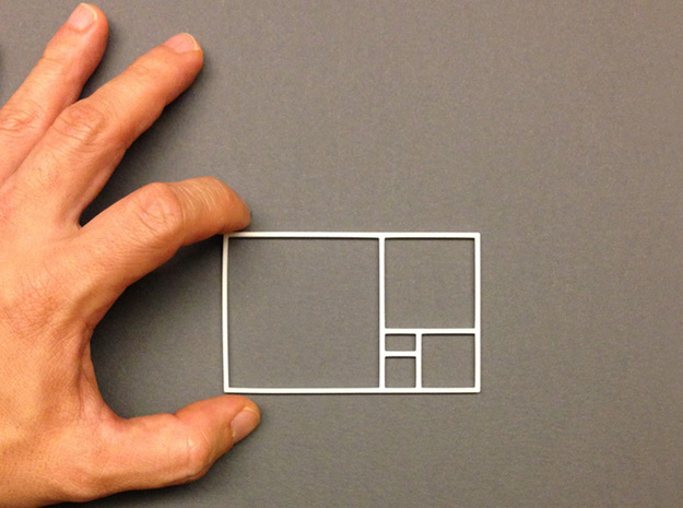 The Golden Rectangle 3d printed This is the golden rectangle, its proportions based on the golden ratio, 1:1.618