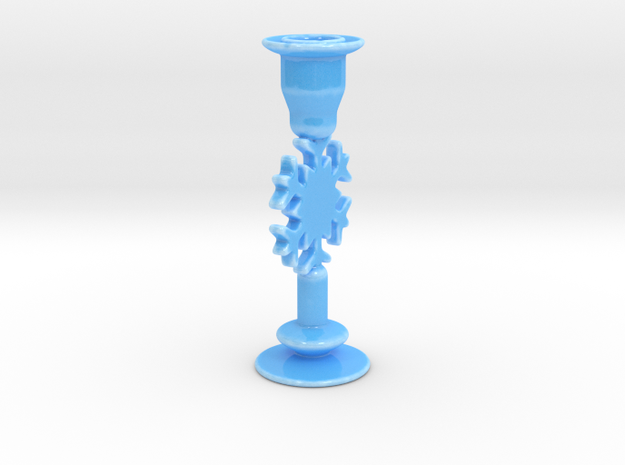 Snowflake Candle Holder A in Gloss Blue Porcelain