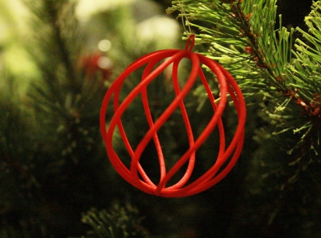 spiral christmas ball small in Red Strong & Flexible Polished