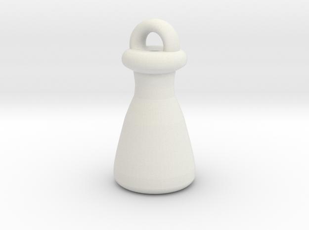 Erlenmeyer Keychain in White Natural Versatile Plastic