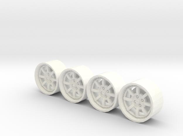 4 Llantas Braid 1:24 Estática in White Processed Versatile Plastic