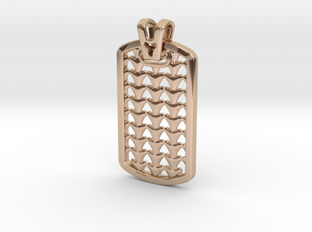 HOUNDS TOOTH DOG TAG 2 in 14k Rose Gold Plated