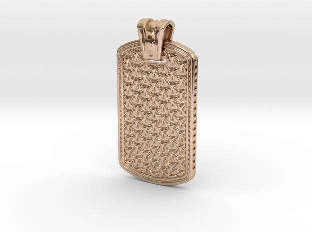 HOUNDS TOOTH DOG TAG 1 in 14k Rose Gold Plated