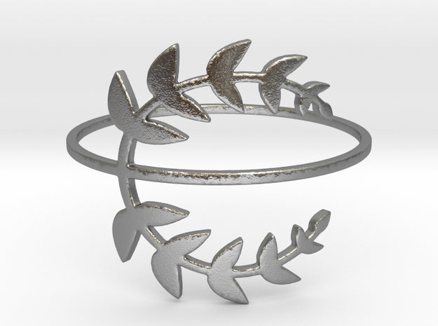 Stack-able Laurel Leaves (Size 4.75 - 11.5) in Natural Silver: 7.5 / 55.5