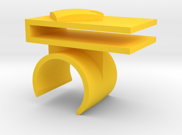 Right Tray Mount in Yellow Processed Versatile Plastic