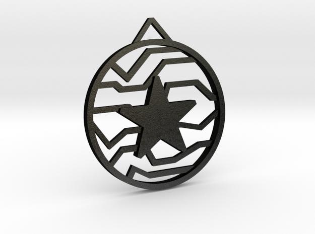 Winter Soldier Star Pendant (Medium) in Matte Black Steel