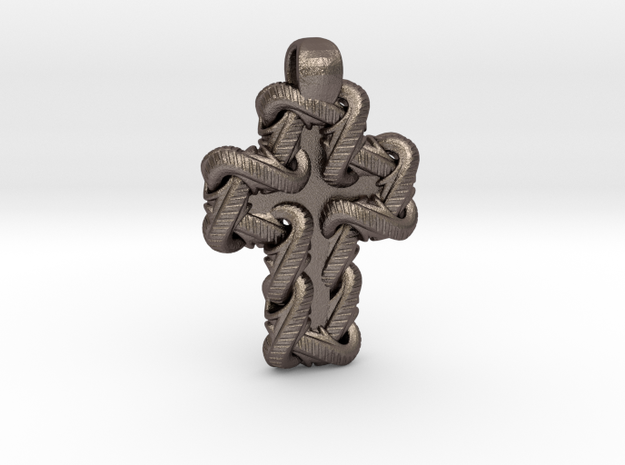 S Chain Cross Pendant in Stainless Steel