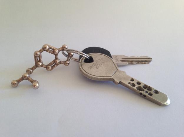 MDMA Molecule Keychain Necklace 3d printed MDMA molecule keychain printed in stainless steel.