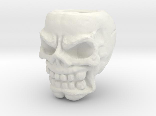 Obj Fixed Skullbead 3.0 6mm Hole in White Strong & Flexible