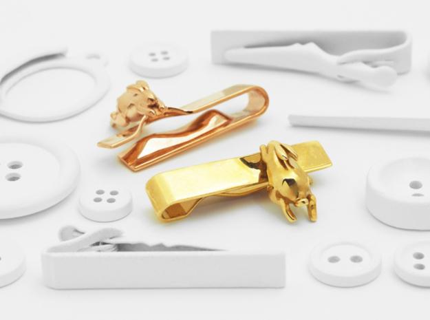 Falling Rabbit Tie Bar in Polished Brass: Medium