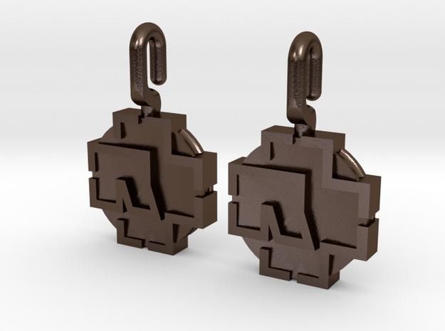 Rammstein Earrings in Polished Bronze Steel
