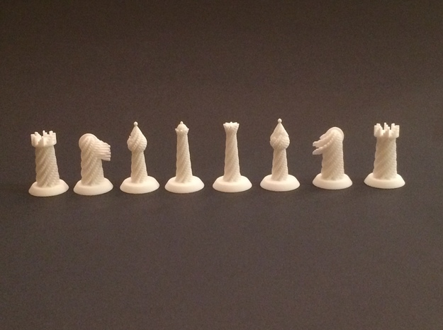 Spiral Chess Set in White Natural Versatile Plastic