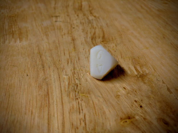 Weird D6 Rounded Dipyramid in White Acrylic