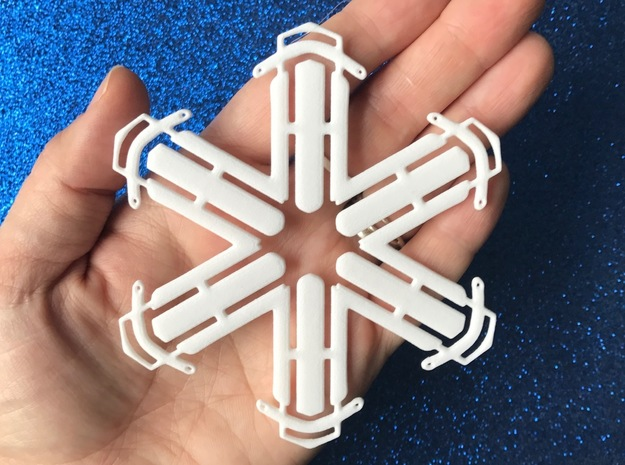 Sled Snowflake Ornament in White Strong & Flexible