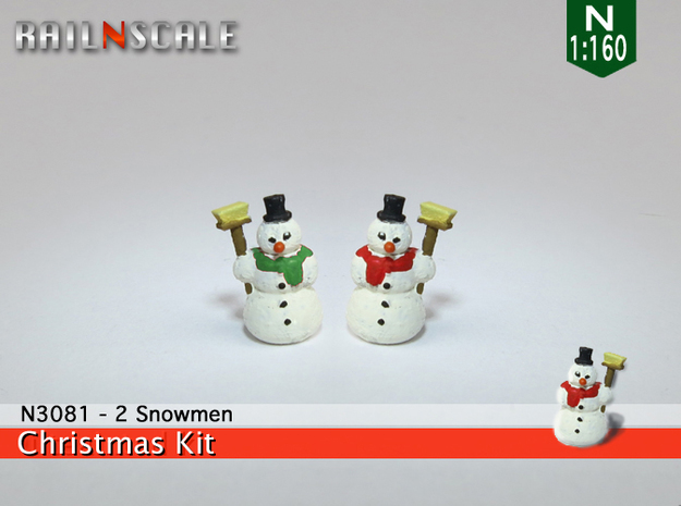 2 Snowmen (N 1:160) in Smooth Fine Detail Plastic