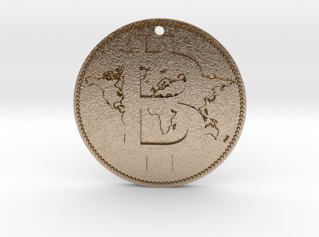 World Bitcoin Medal in Polished Gold Steel