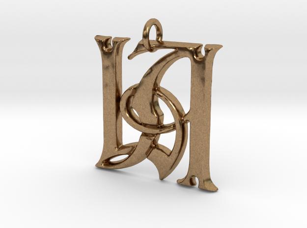 Monogram Initials LA Pendant  in Natural Brass