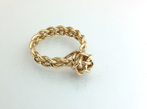 Woven Gem Ring 3d printed Polished Brass