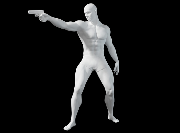 1:24 Male soldier 004 in Smooth Fine Detail Plastic