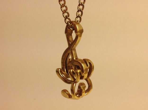 """""""Treble Electric Guitar"""" Perspective Pendant 3d printed Gold Plated Brass Pendant"""
