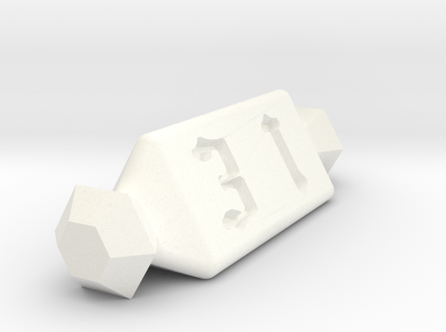 3 Sided Die in White Processed Versatile Plastic