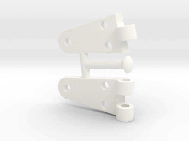 Whirlwind  Hinge Complete  in White Processed Versatile Plastic