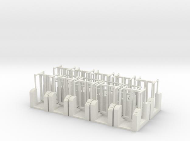 [10st] OV Chipkaart poortjes 1:87 (H0) in White Natural Versatile Plastic