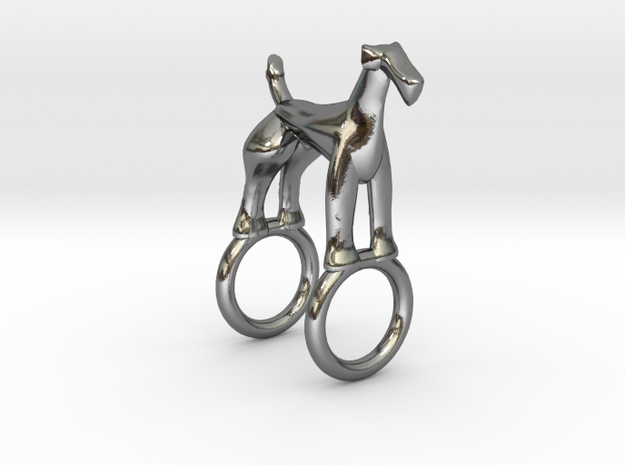 Airedale Charm in Polished Silver