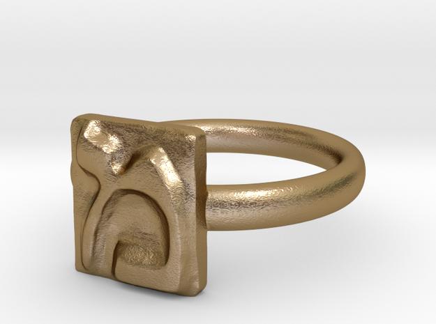 13 Mem Ring in Polished Gold Steel: 7 / 54
