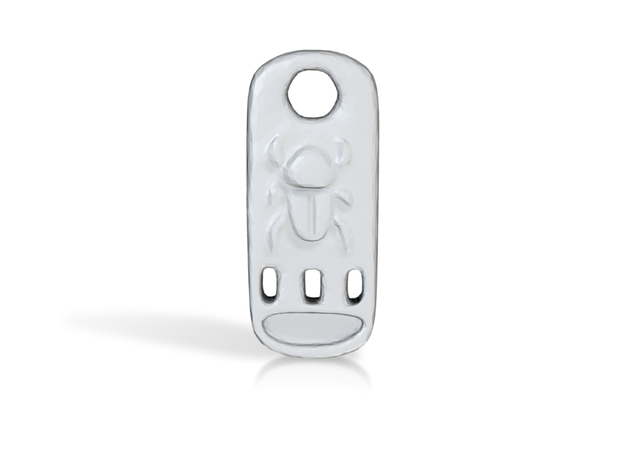 Scarab Cartouche Pendant in White Natural Versatile Plastic